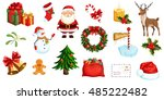 christmas icons set. holiday... | Shutterstock .eps vector #485222482