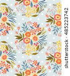 vector seamless pattern with... | Shutterstock .eps vector #485223742