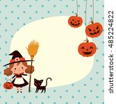 halloween cute little witch and ... | Shutterstock .eps vector #485224822