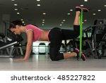 attractive woman exercising...   Shutterstock . vector #485227822
