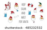 santa vector set. cartoon... | Shutterstock .eps vector #485232532