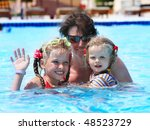 happy family in swimming pool.... | Shutterstock . vector #48523729