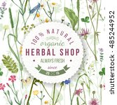 herbal shop round emblem over... | Shutterstock .eps vector #485244952