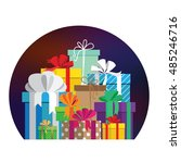 the semi circular template for... | Shutterstock .eps vector #485246716