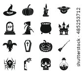 halloween icons set in simple... | Shutterstock .eps vector #485253712