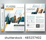 Brochure design template vector. Flyers report business magazine poster minimal portfolio. Abstract square in cover book presentation. City concept in A4 layout. | Shutterstock vector #485257402