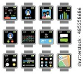 square smartwatch. applications ... | Shutterstock .eps vector #485258686