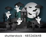 halloween party with ghost and... | Shutterstock .eps vector #485260648
