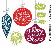 vintage xmas baubles with merry ... | Shutterstock .eps vector #485285122