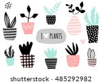a set of cute pots with... | Shutterstock .eps vector #485292982