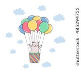 cute cartoon cat in the sky... | Shutterstock .eps vector #485294722
