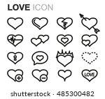 vector black line love icons... | Shutterstock .eps vector #485300482
