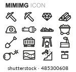 vector black line mining icons... | Shutterstock .eps vector #485300608