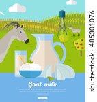 goat milk. milk farm concept... | Shutterstock .eps vector #485301076