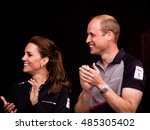 Small photo of July 24 2016 Portsmouth, UK, The Duke and Duchess of Cambridge applaud the arrival onshore of the sailors taking part in the Americas Cup World Series.
