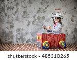 portrait of young child pretend ... | Shutterstock . vector #485310265
