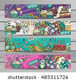 happy birthday abstract vector... | Shutterstock .eps vector #485311726