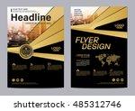 gold brochure layout design... | Shutterstock .eps vector #485312746