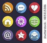 media network symbols in flat... | Shutterstock .eps vector #485315386