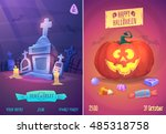 halloween illustration cemetery ...   Shutterstock .eps vector #485318758