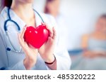 young woman doctor holding a... | Shutterstock . vector #485320222