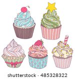 hand drawn vector set with cute ... | Shutterstock .eps vector #485328322