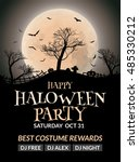 halloween flyer or poster... | Shutterstock .eps vector #485330212