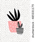 pink and gray pot with black... | Shutterstock .eps vector #485331175