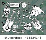 cute embroidery patches and... | Shutterstock .eps vector #485334145