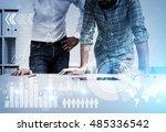 two businessmen in casual... | Shutterstock . vector #485336542