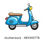 blue scooter isolated. | Shutterstock .eps vector #485340778