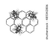 bees with honeycombs set. black ...   Shutterstock .eps vector #485342806
