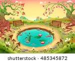 romantic scene in the park.... | Shutterstock .eps vector #485345872