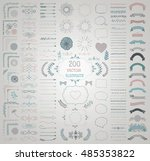 set of 200 colorful hand drawn... | Shutterstock .eps vector #485353822