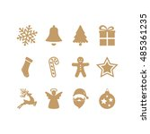 gold christmas icons set | Shutterstock .eps vector #485361235