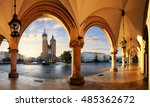 krakow at sunrise  poland. | Shutterstock . vector #485362672