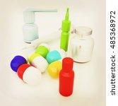 syringe  tablet  pill jar. 3d... | Shutterstock . vector #485368972