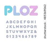 linear font. vector alphabet... | Shutterstock .eps vector #485369062