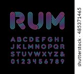 neon font. vector alphabet with ... | Shutterstock .eps vector #485371465