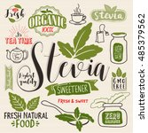 stevia and organic food label... | Shutterstock .eps vector #485379562
