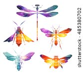 bright insect icons  vector set.... | Shutterstock .eps vector #485380702