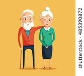 happy grandparents. vector... | Shutterstock .eps vector #485390872
