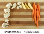 raw fall vegetables on a bamboo ... | Shutterstock . vector #485393338