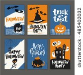 set of six vector halloween... | Shutterstock .eps vector #485402032