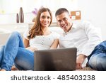 young couple surfing and... | Shutterstock . vector #485403238