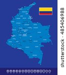 colombia blue map vector... | Shutterstock .eps vector #485406988