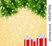 christmas yellow background... | Shutterstock .eps vector #485407006