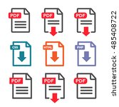 pdf file download icon.... | Shutterstock .eps vector #485408722