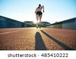 lean athletic female runner... | Shutterstock . vector #485410222