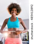 gym afro woman loosing weight... | Shutterstock . vector #485412892